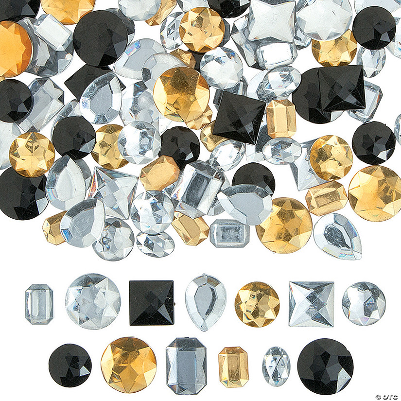 Large Black, Gold & Silver Faceted Gems