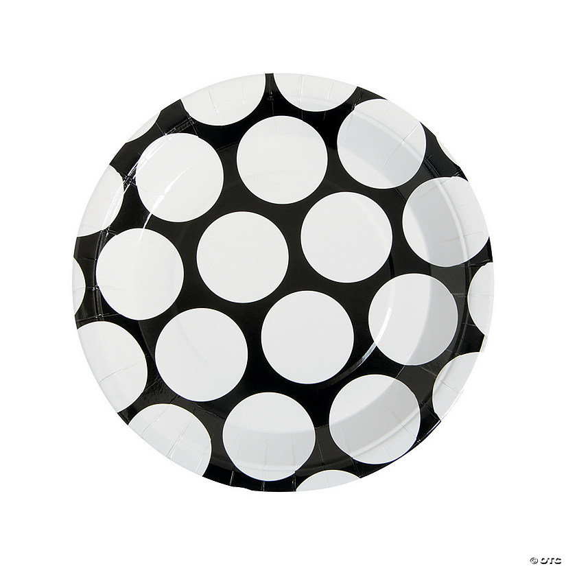 Large Black Polka Dot Paper Dinner Plates