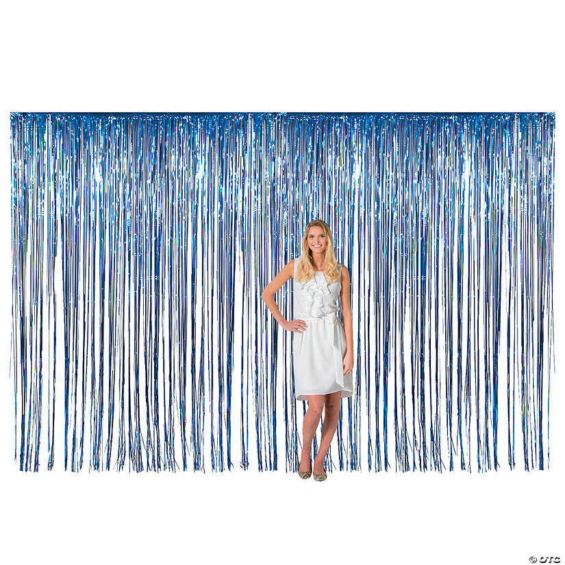 Large Blue Metallic Fringe Backdrop Curtain Audio Thumbnail