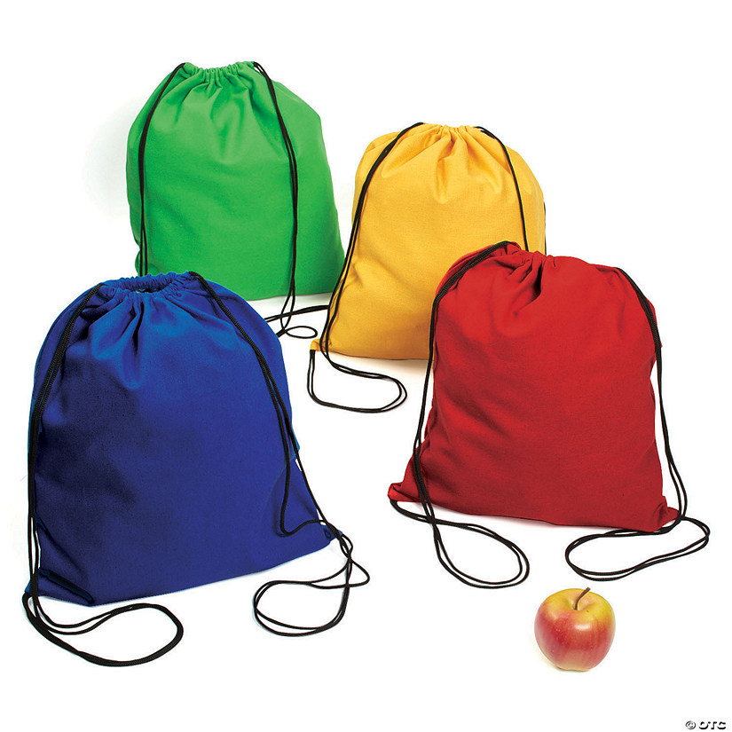 Large Bright Canvas Drawstring Bags Image Thumbnail
