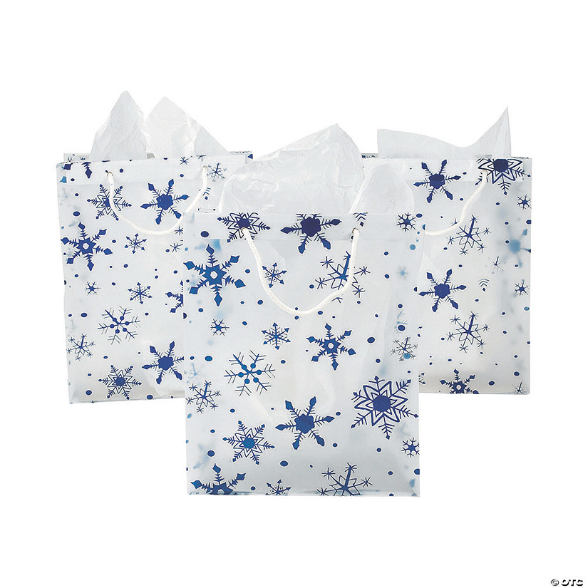 sc 1 st  Oriental Trading & Large Clear Gift Bags with Snowflakes | Oriental Trading