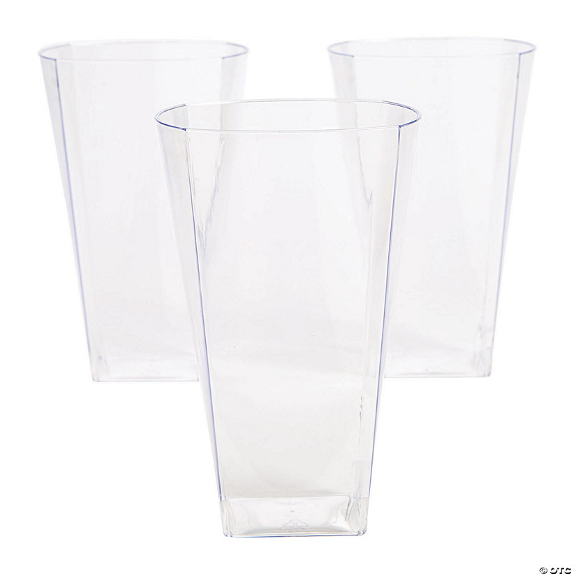 Large Clear Square Plastic Cups - 14 Ct. Audio Thumbnail