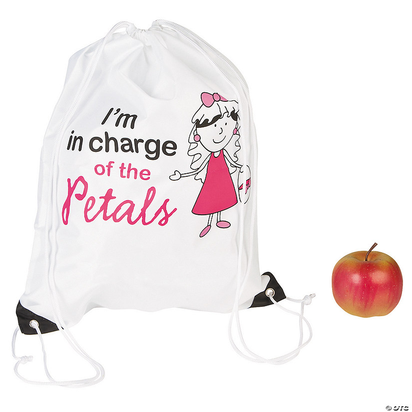 Large Flower Girl Drawstring Bags
