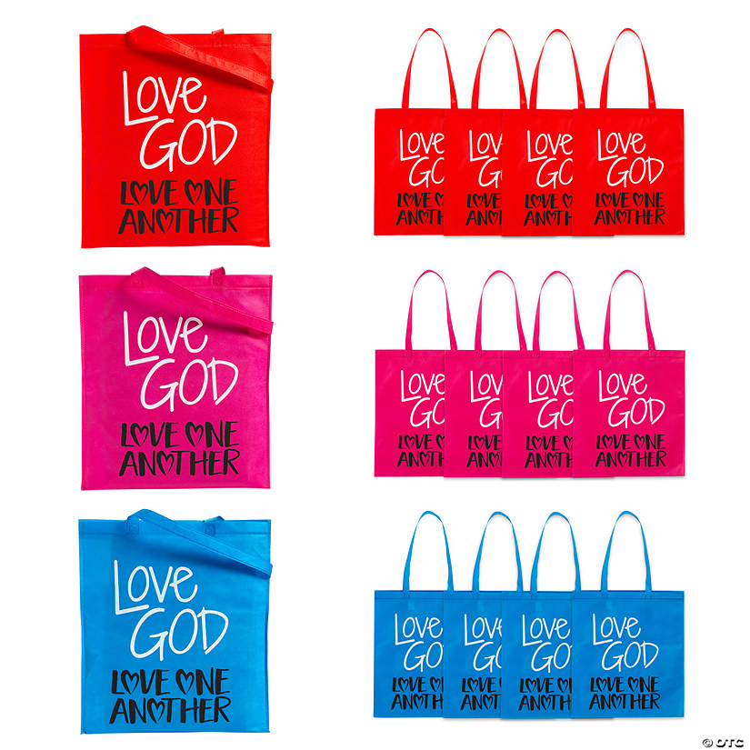 Large God's Love Bright Tote Bags Audio Thumbnail
