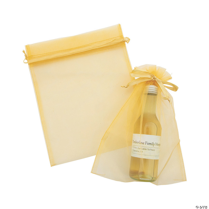 Large Gold Organza Drawstring Bags