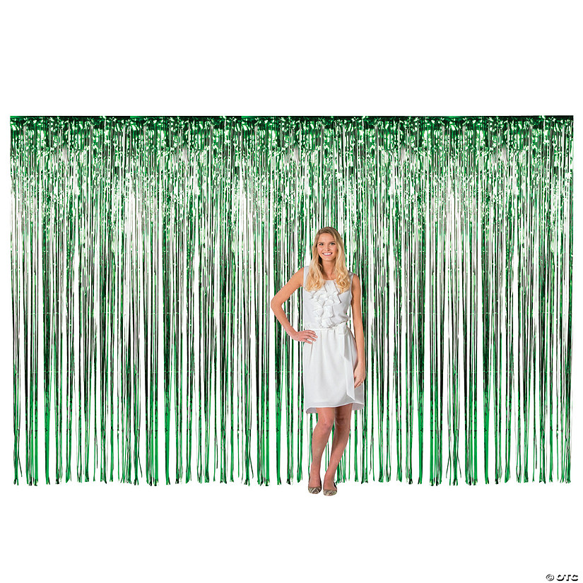 Large Green Metallic Fringe Backdrop Curtain Image Thumbnail