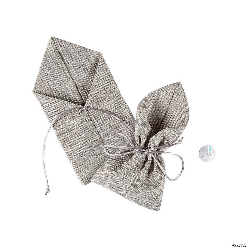 Large Grey Burlap Drawstring Favor Bags Audio Thumbnail