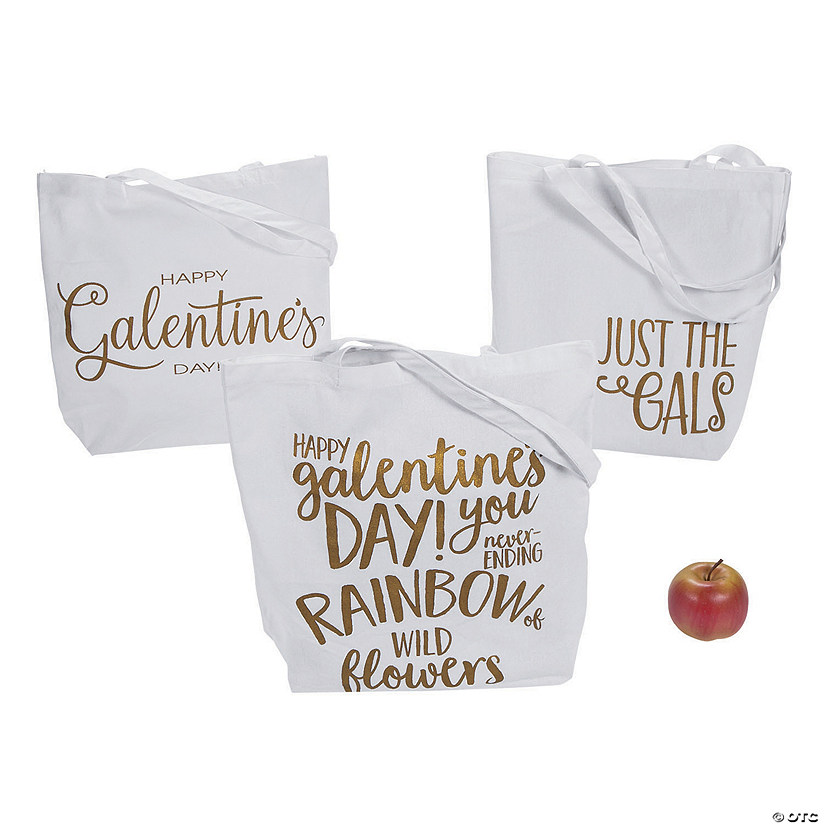 Large Happy Galentine's Day Canvas Tote Bags Audio Thumbnail