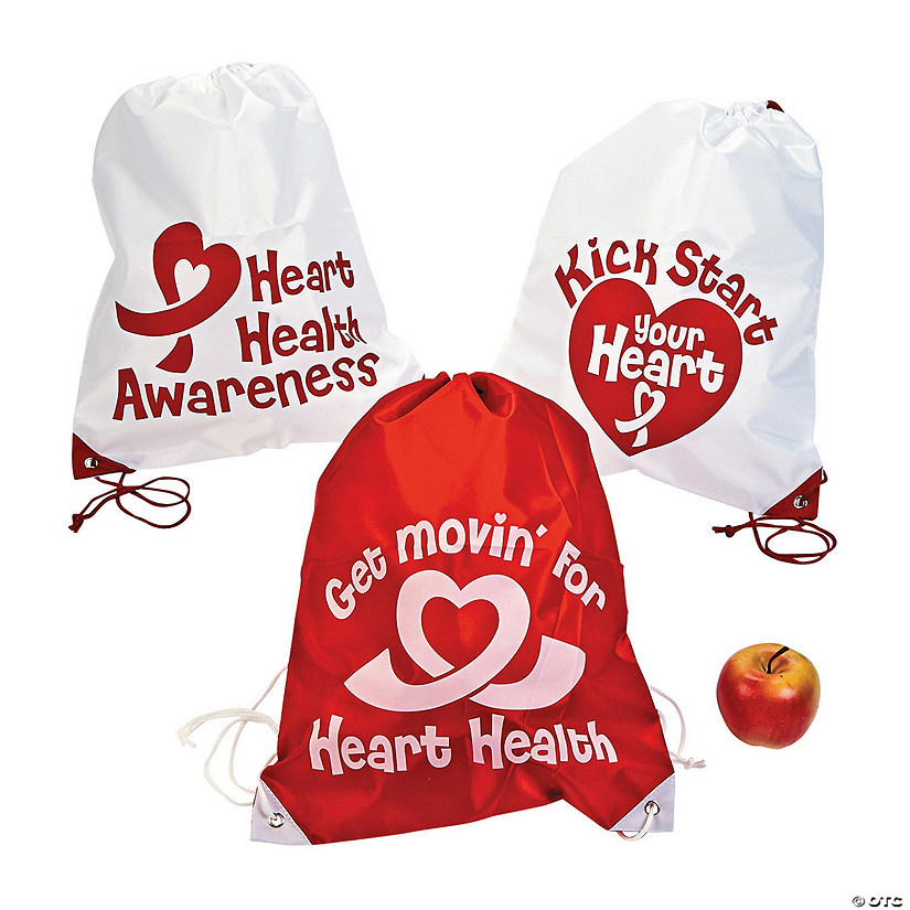 Large Heart Health Awareness Drawstring Bags