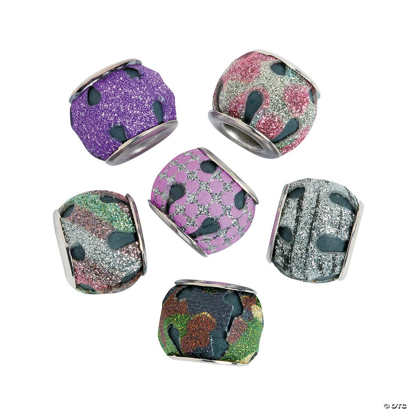 Large Hole Round Glitter Beads - 14mm