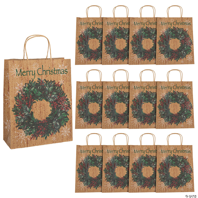 Large Holiday Wreath Kraft Paper Gift Bags Audio Thumbnail