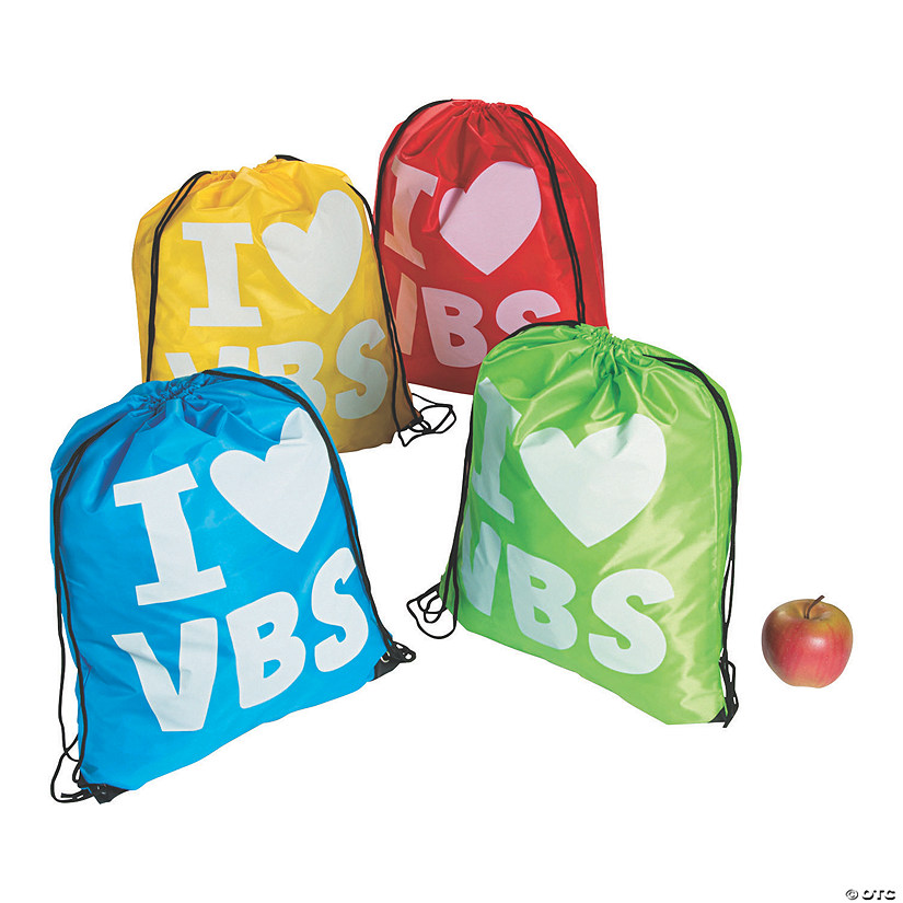 Large I Love VBS Drawstring Bags