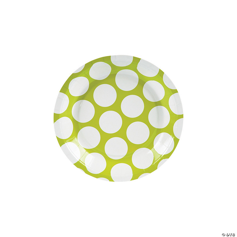 Large Lime Green Polka Dot Paper Dessert Plates - 8 Ct. Image Thumbnail