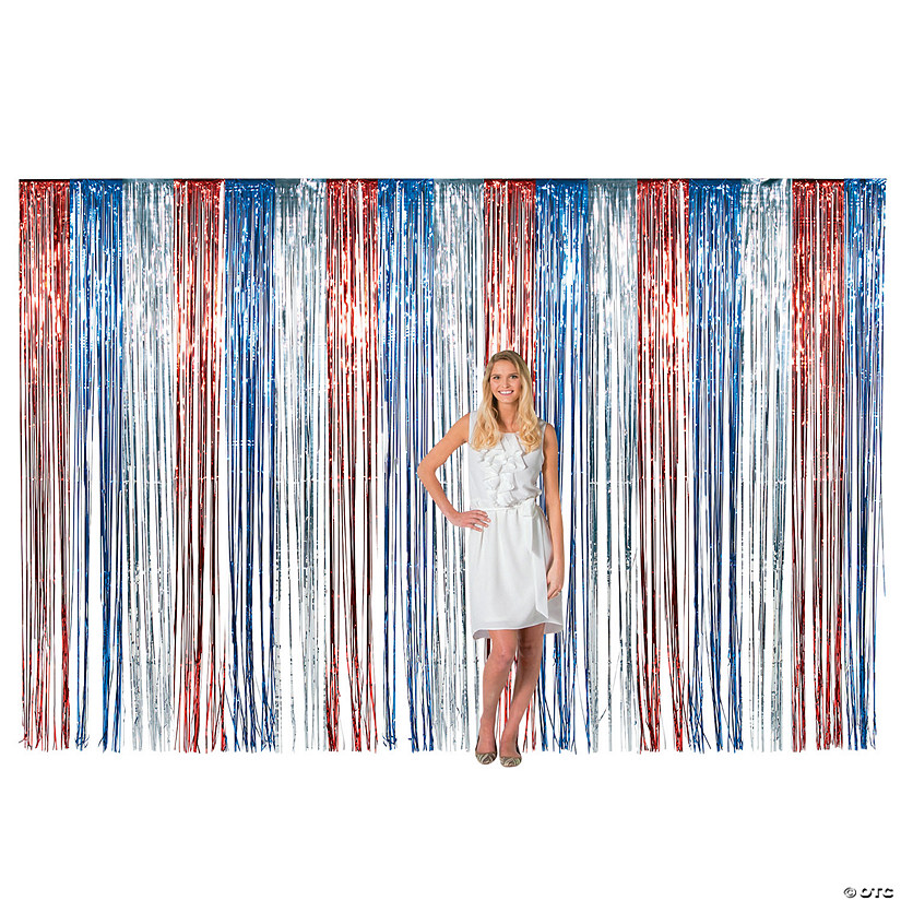 Large Patriotic Metallic Fringe Backdrop Curtain Audio Thumbnail