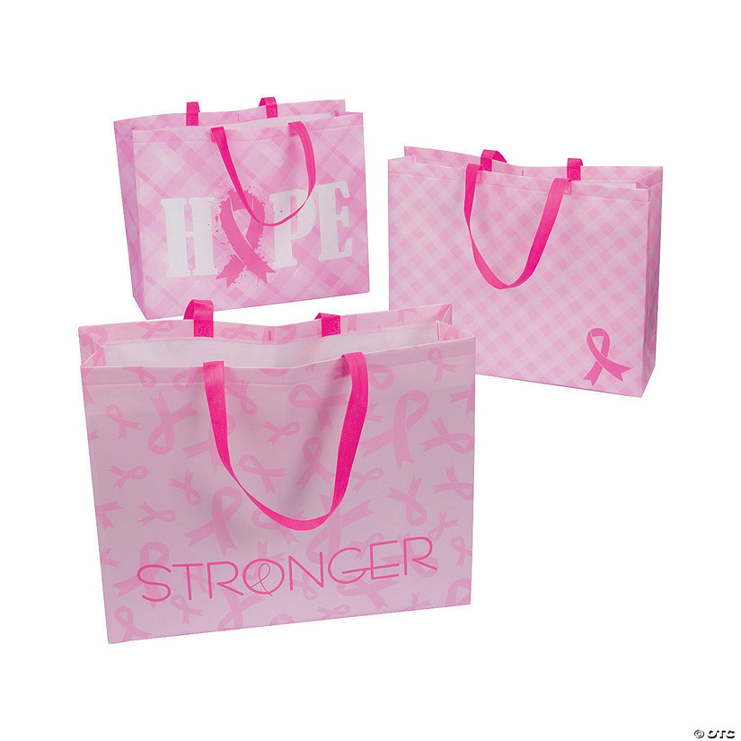 Large Pink Ribbon Tote Bags Audio Thumbnail