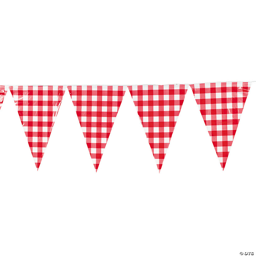 Large Red Gingham Vinyl Pennant Banner Audio Thumbnail