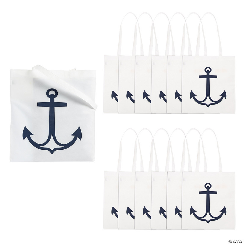 Large White Anchor Tote Bags Audio Thumbnail