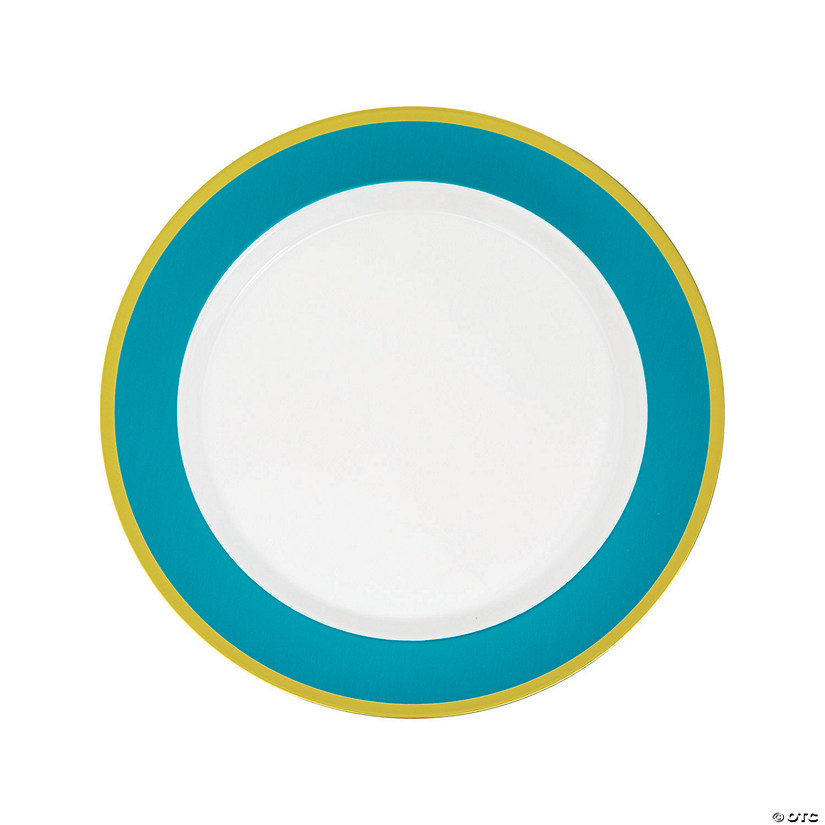Light Blue & White Premium Plastic Dinner Plates with Gold Border