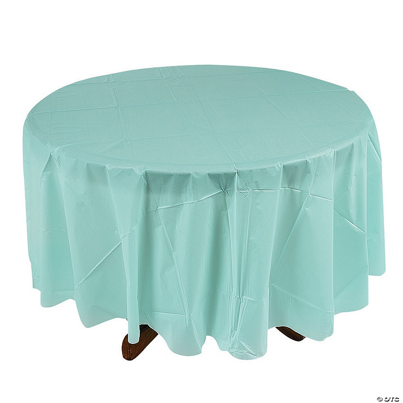 Light Blue Round Plastic Tablecloth Audio Thumbnail