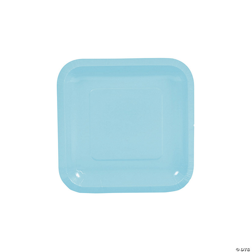 Light Blue Square Paper Dessert Plates