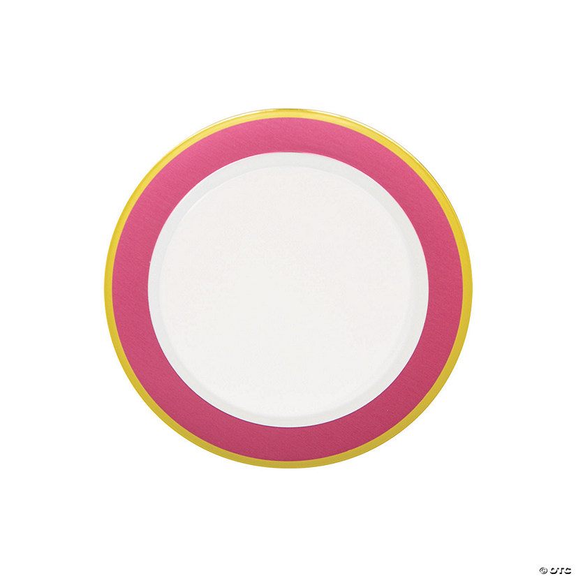 Light Pink & White Premium Plastic Dessert Plates with Gold Border Audio Thumbnail