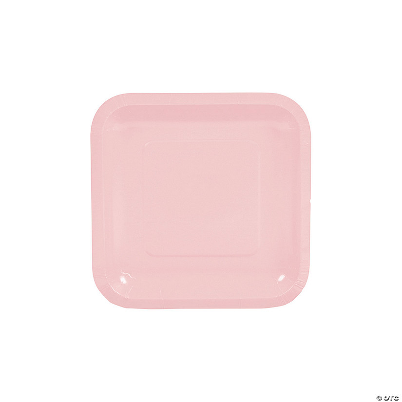 Light Pink Square Paper Dessert Plates