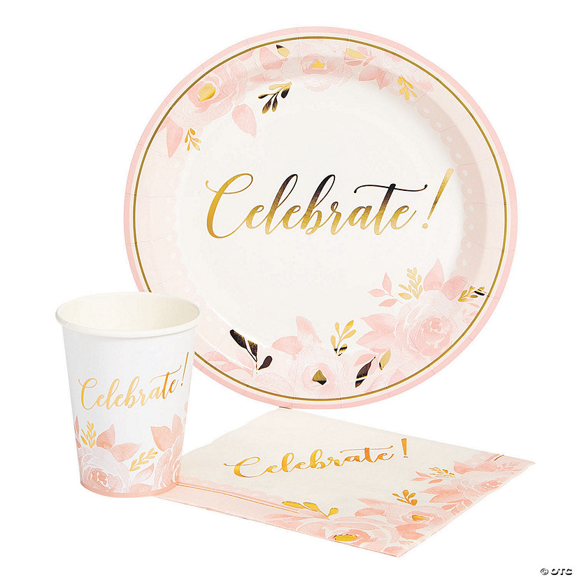 Lillian & Rose™ Pink & Gold Celebrate Bridal Shower Tableware Set Audio Thumbnail