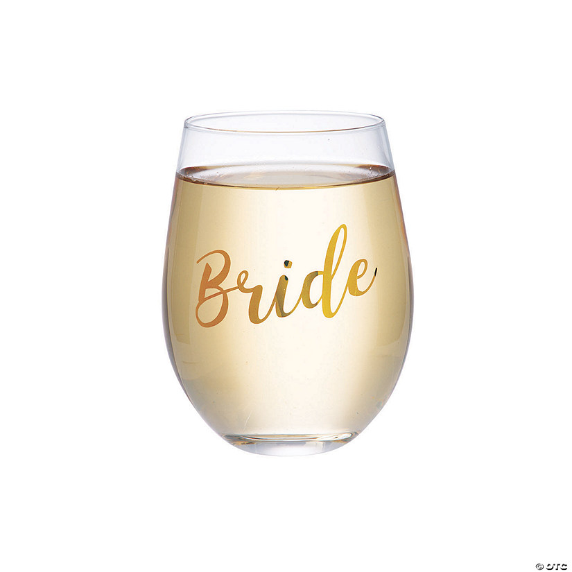 Lillian Rose™ Gold Bride Stemless Wine Glass Audio Thumbnail