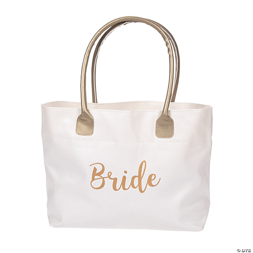 Lillian Rose™ Large White & Gold Bride Tote Bag Audio Thumbnail