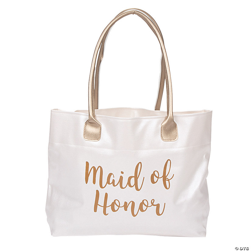 Lillian Rose™ Large White & Gold Maid of Honor Tote Bag Audio Thumbnail