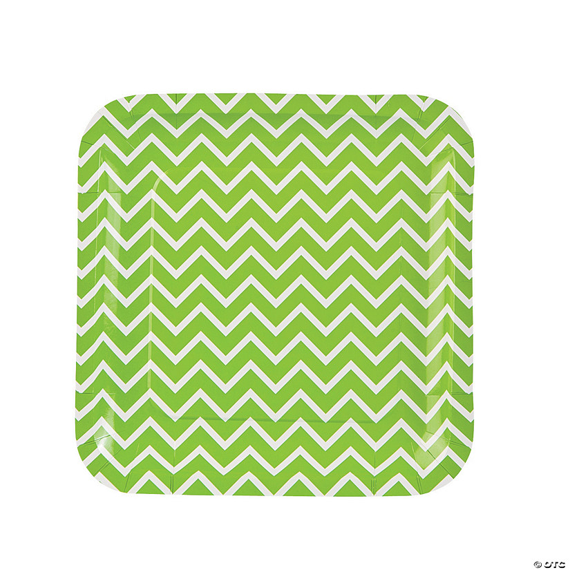 Lime Green Chevron Paper Dinner Plates - 8 Ct. Image Thumbnail
