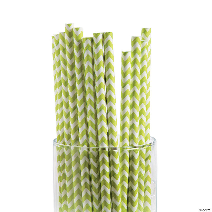 Lime Green Chevron Paper Straws Image Thumbnail