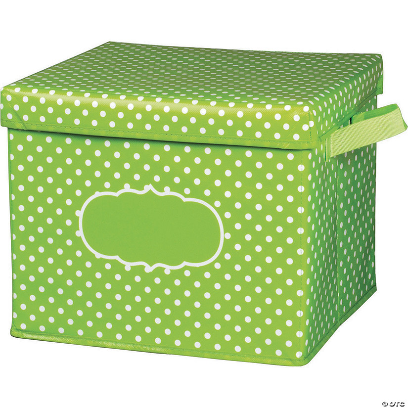 Lime Polka Dots Storage Box