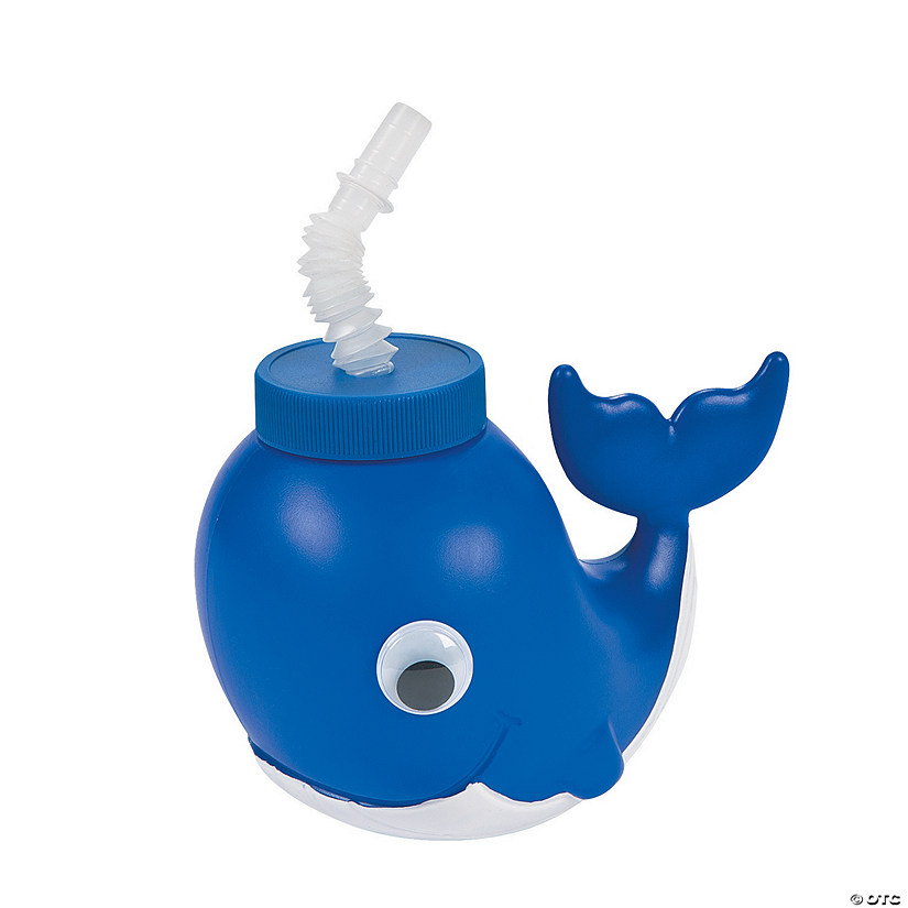 Little Sailor Party Whale Plastic Molded Cups with Lids & Straws