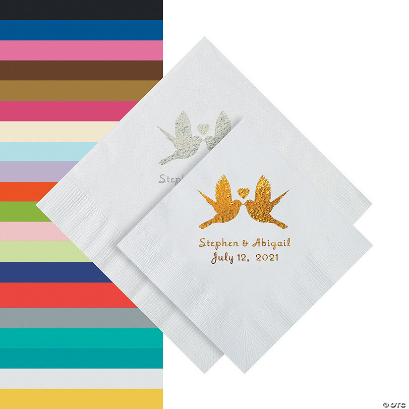 Love Birds Personalized Napkins - Beverage or Luncheon