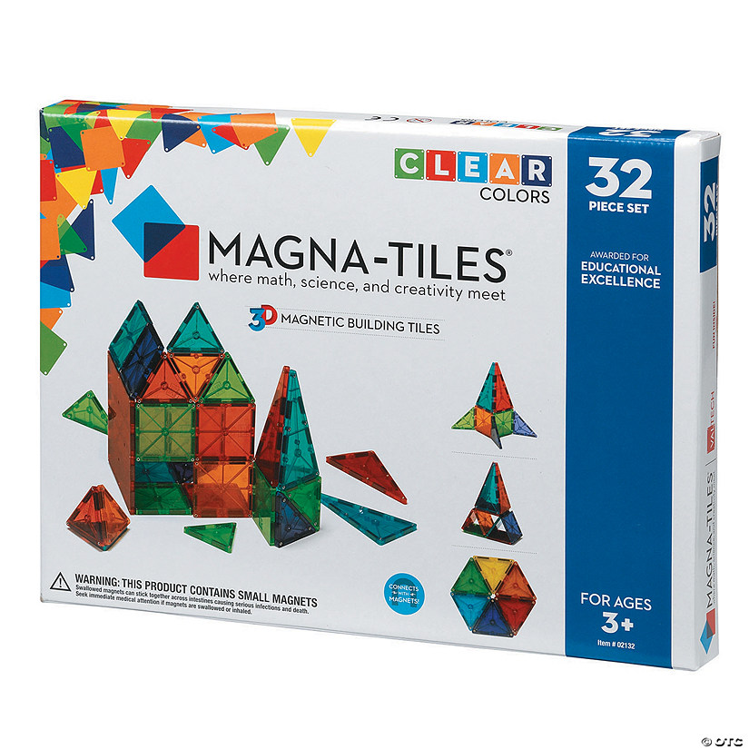 Magna-Tiles Clear Colors: 32 Piece Set