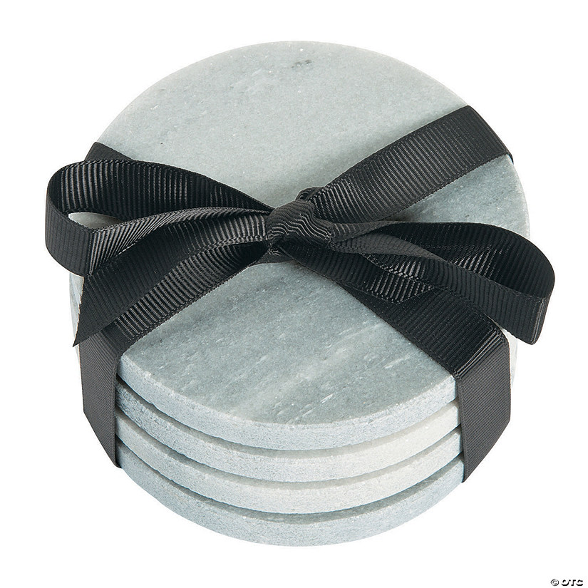 Marble Glass Coaster Set