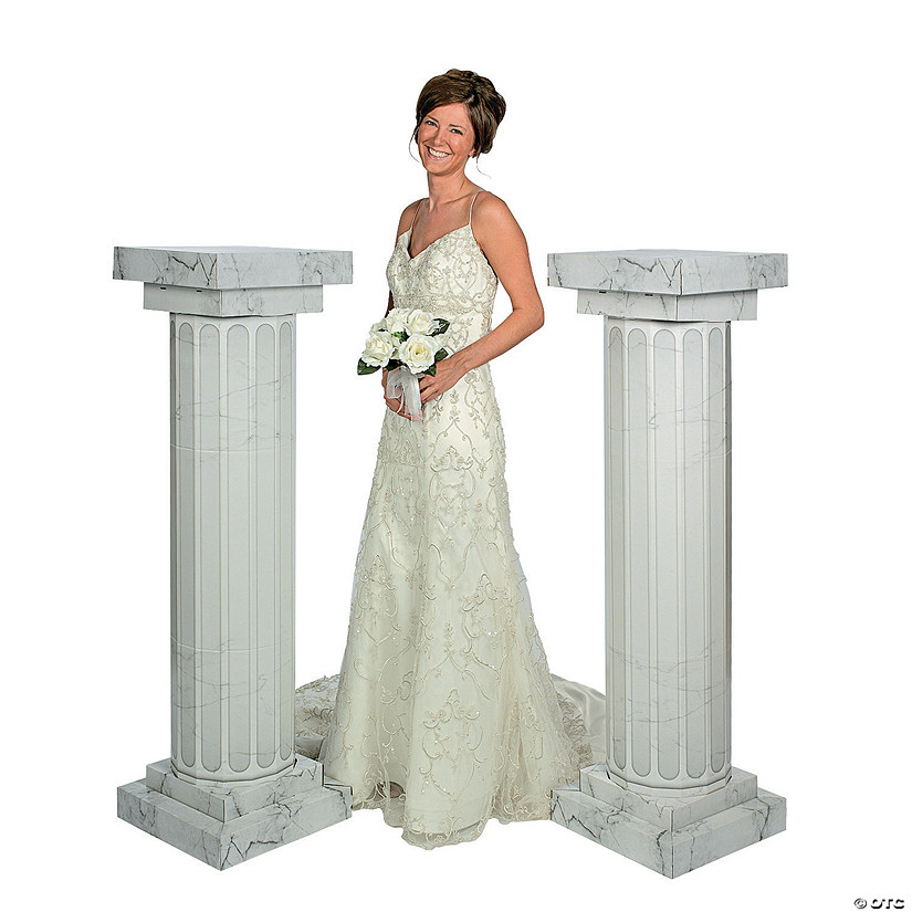 Marble-Look Fluted Columns - 4 1/2 ft.