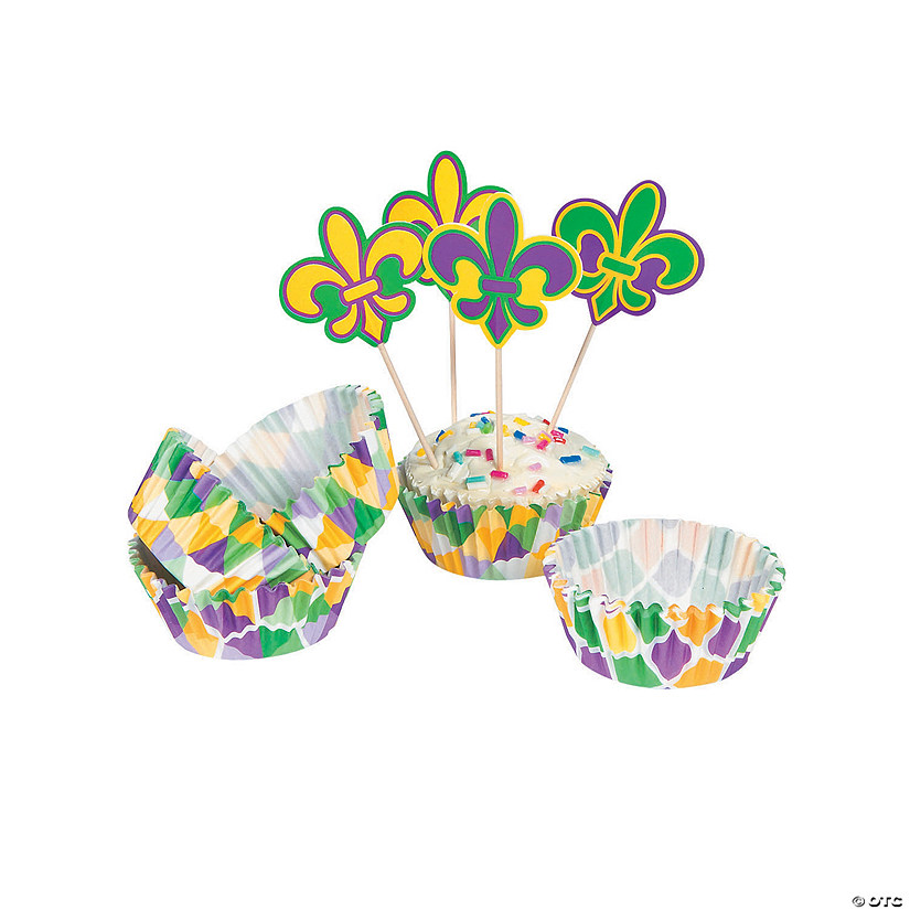 Mardi Gras Cupcake Liners with Picks