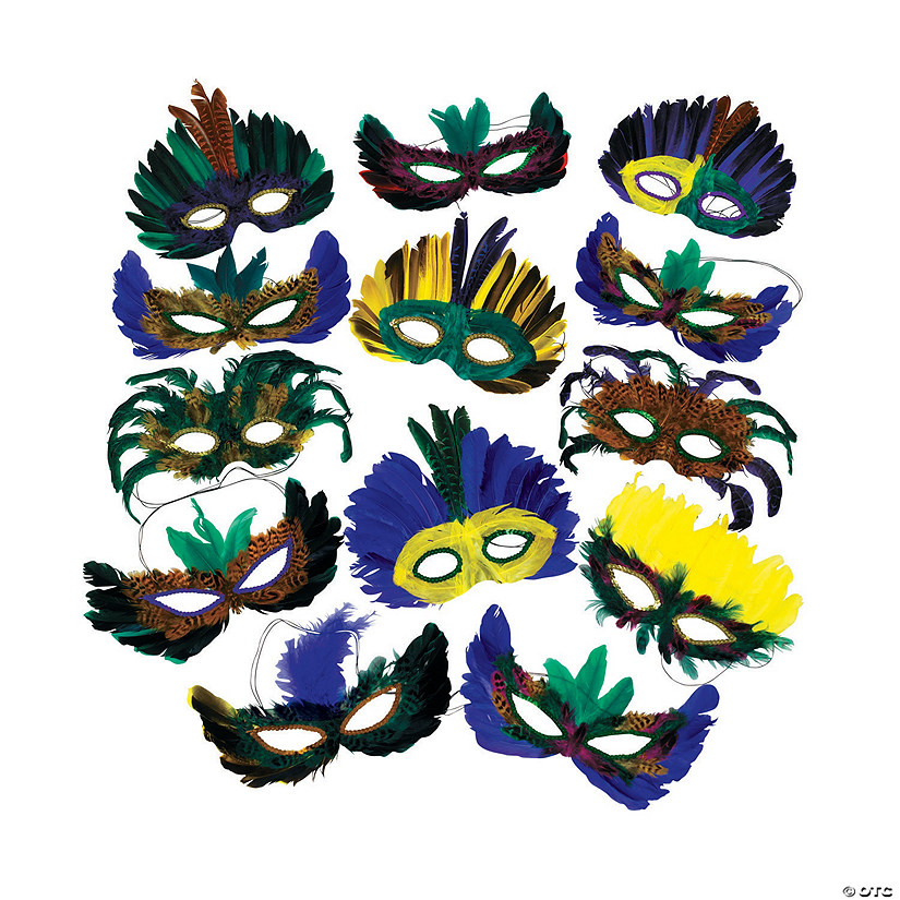 Mardi Gras Feather Mask Assortment Image Thumbnail
