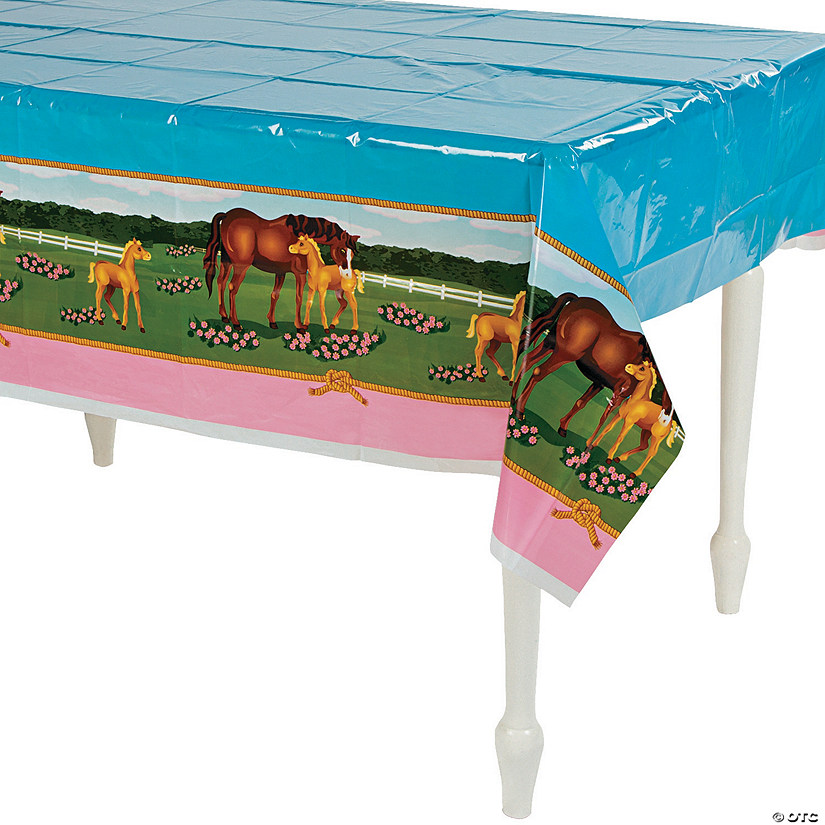 Mare & Foal Plastic Tablecloth