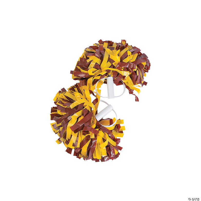 Maroon & Gold Spirit Cheer Pom-Poms - 2 Pc. Image Thumbnail