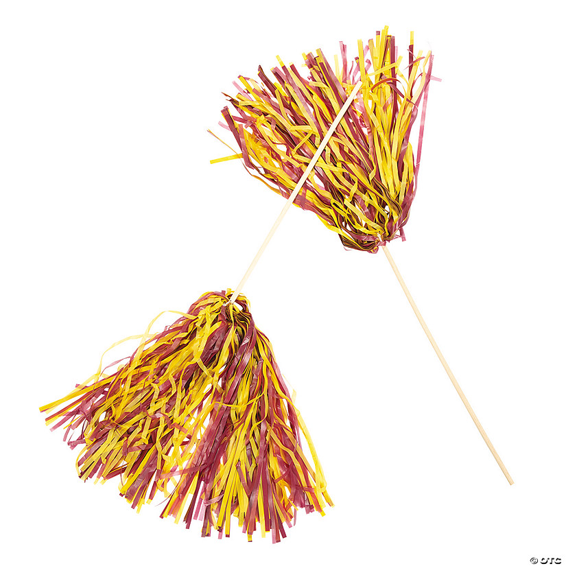 Maroon & Yellow Two-Tone Spirit Pom-Poms