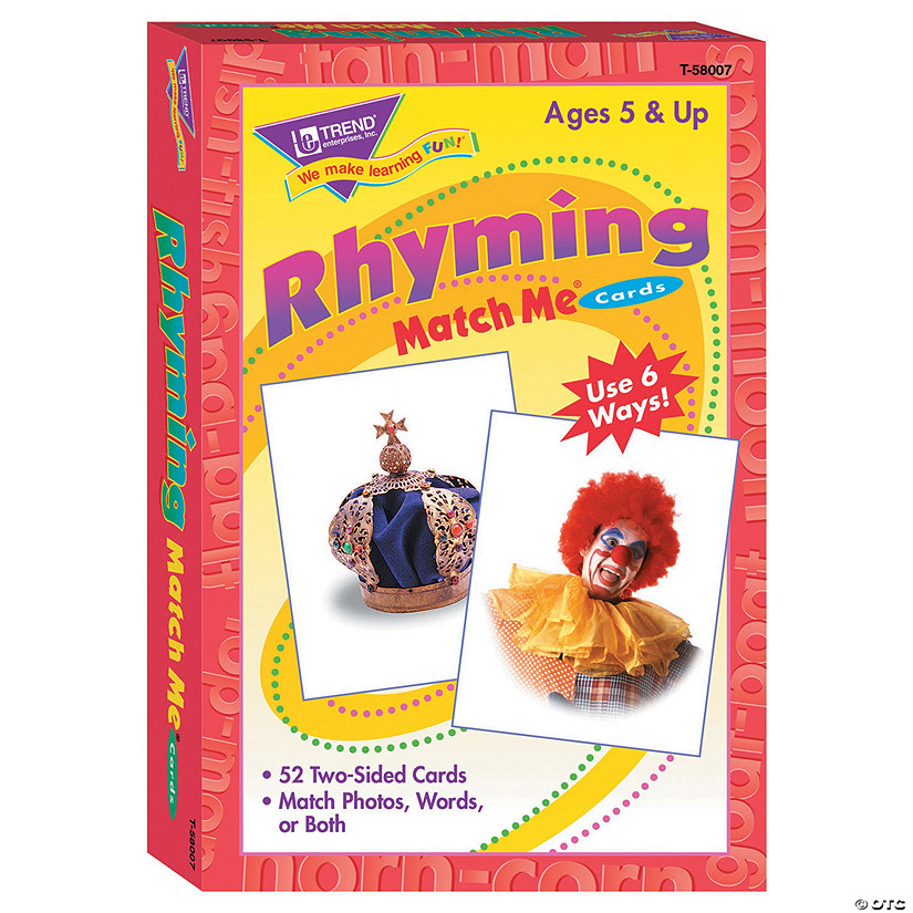 Match Me® Cards, Rhyming Words - 52 cards per pack, 6 packs