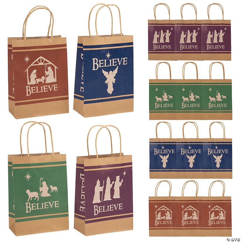 Medium Believe Holy Family Silhouette Kraft Paper Gift Bags Audio Thumbnail