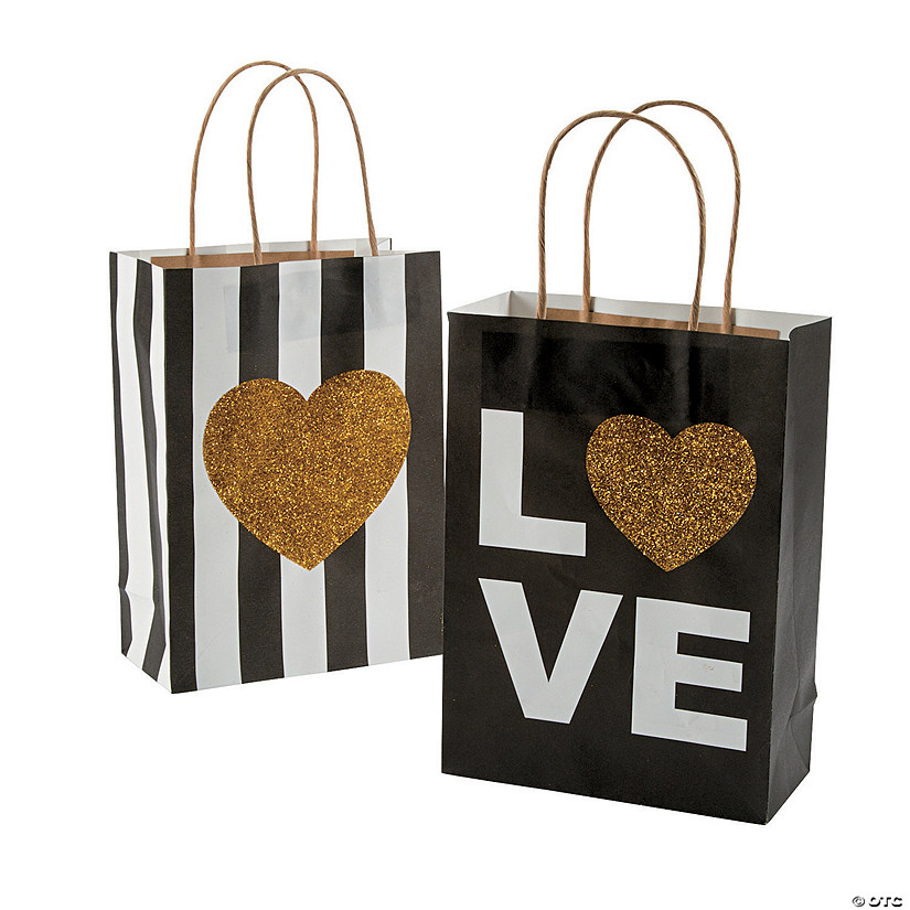 Medium Black & Gold Glitter Wedding Kraft Paper Gift Bags Audio Thumbnail