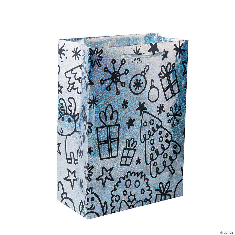 Medium Christmas Doodle Sparkle Gift Bags