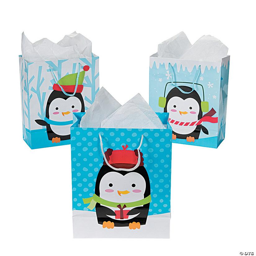 medium christmas penguin gift bags