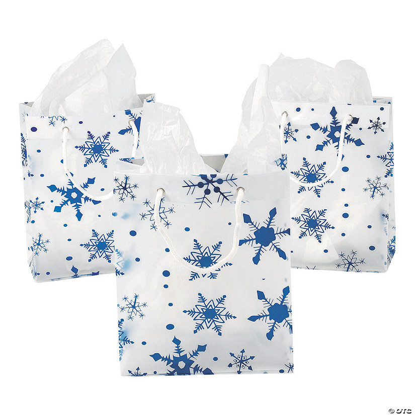 Medium Clear Gift Bags with Snowflakes Image Thumbnail