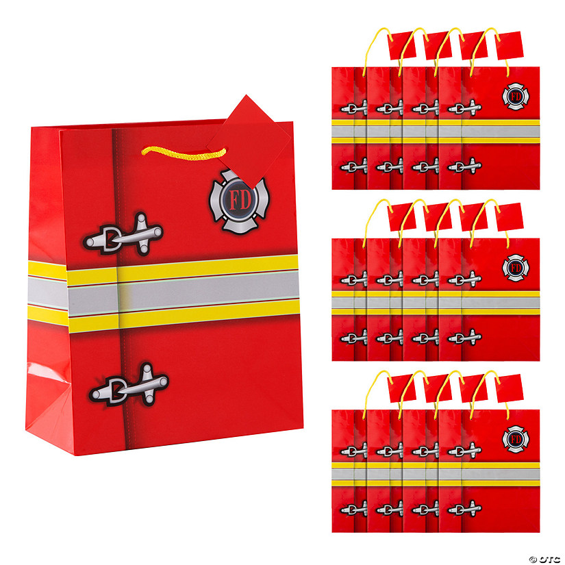 Medium Firefighter Party Gift Bags with Tags